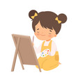 cute girl sitting on floor and drawing picture vector image vector image