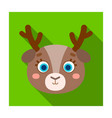 deer muzzle icon in flat style isolated on white vector image vector image