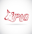 Design a pig head is text vector image vector image