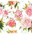 elegance seamless color rose pattern on white vector image
