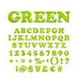 english alphabet and numerals from green balloons vector image