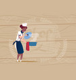 female african american chef cook holding pot vector image vector image