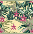 ficus palm leaves and pink orchid flowers seamless vector image vector image