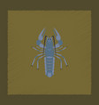 flat shading style seafood lobster vector image vector image