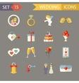 Flat Wedding Symbols Bride Groom Marriage vector image vector image