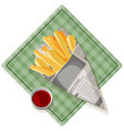 fried potato with tasty ketchup on pretty square vector image vector image