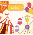 fun fair carnival ferris wheel tent balloons air vector image vector image