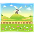 Funny landscape with windmill vector image vector image