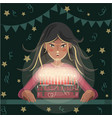 girl blows out candles on a birthday cake vector image vector image