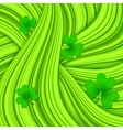 Green hair waves abstract background with clovers vector image