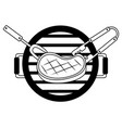 grill barbecue meat steak fork and tongs vector image