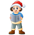 happy boy singing christmas vector image vector image
