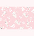 happy easter day white bunnies floral decoration vector image