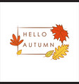 hello autumn greeting simple dry foliage frame vector image