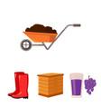 hive grapes boots wheelbarrowfarm set vector image vector image