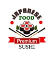 Japanese sushi rolls with chopsticks symbol vector image