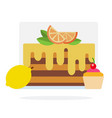 lemon cake muffin with cherry and lemon flat vector image vector image