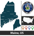 map maine us vector image