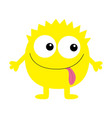 monster yellow round silhouette two eyes tongue vector image vector image