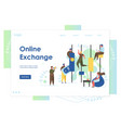 online exchange website landing page design vector image vector image