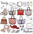 pack with woman accessories jewel bags objects vector image vector image