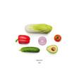 Realistic vegetables set of avocado onion tomato