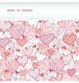 Romantic doodle hearts horizontal torn seamless vector image vector image