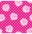 Roses and polka dots pink floral background vector image vector image