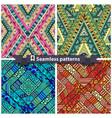 Set of tribal doddle rhombus seamless pattern vector image