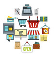 shopping icons set flat style vector image