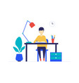 student studying - flat design style colorful vector image