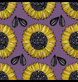 sunflower seamless pattern with flowers on a vector image vector image