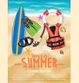 surfboard and diving tools on sea beach vector image