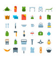 tourist equipment for hiking icons set vector image