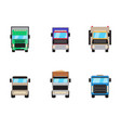 trailer trucks front view icon set isolated on vector image