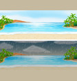 two scenes of ocean on sunny and rainy days vector image vector image