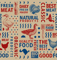 typographic butchery seamless pattern vector image vector image