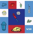 USA Squared Concept with Doodles vector image vector image