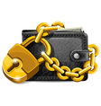 Wallet with lock vector image vector image