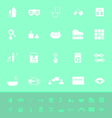 Wellness color icons on green background vector image