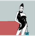 white skin fashion girl in a short black dress vector image