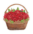 wicker basket with peony flowers isolated vector image vector image