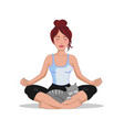 woman doing yoga lotus position with a cat vector image