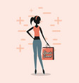 woman shopping retro vector image