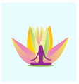yoga and pink lotus flower logo vector image