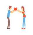young boy giving his heart to cute girl man and vector image vector image