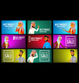 arab man woman banner set young saudi vector image