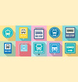 bus stop icon set flat style vector image