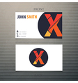 Business card template letter X vector image