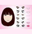 cartoon cute girl character pack facial emotions vector image vector image